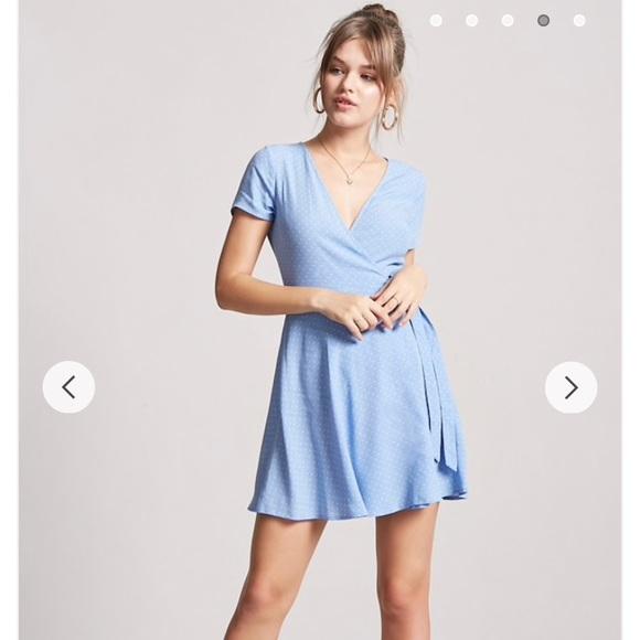 108068df949 New Forever 21 Baby Blue Polka Dot Wrap Dress S